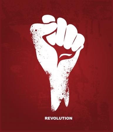 Mano apretado puño Revolución concepto Ilustración de vector