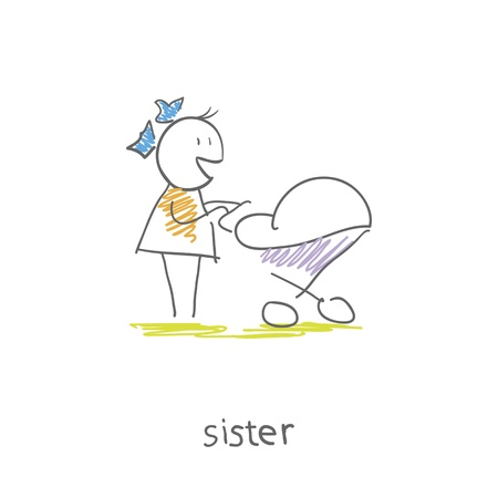 infant: little girl with a sidecar Illustration
