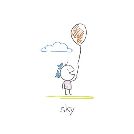 Girl with a balloon Stock Vector - 15442095
