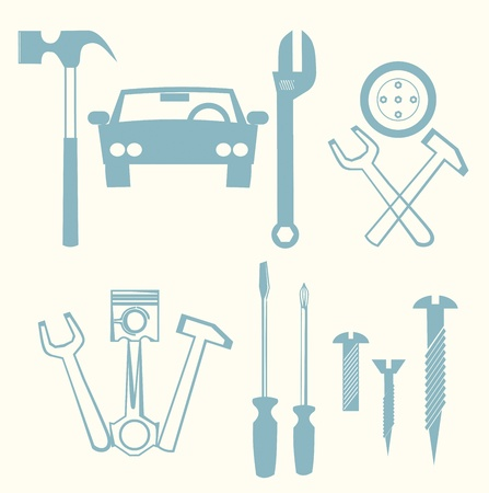 car repair icons Stock Vector - 15442116