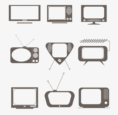flat screen tv: retro tv icons set Illustration