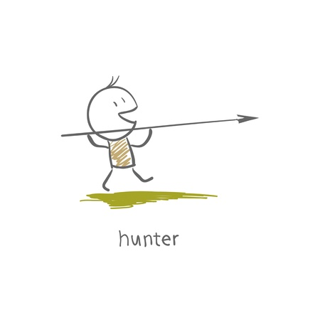 stone age: A hunter with a spear