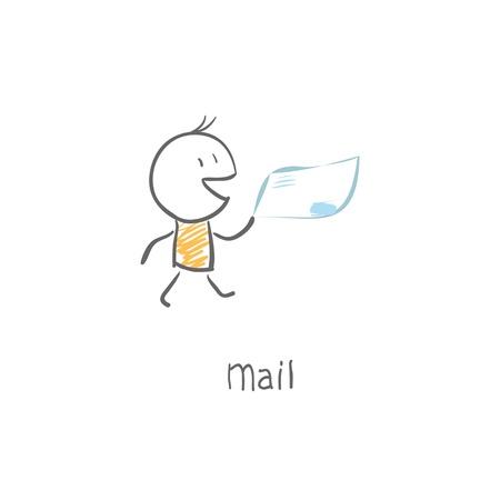 postbode leveren mail Stock Illustratie