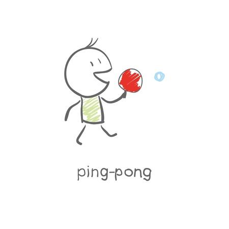 Man plays ping-pong Stock Vector - 15447216