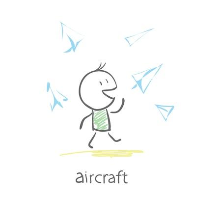 throwing paper: boy starts paper plane