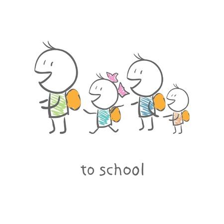Les enfants vont à l'école Banque d'images - 15447207