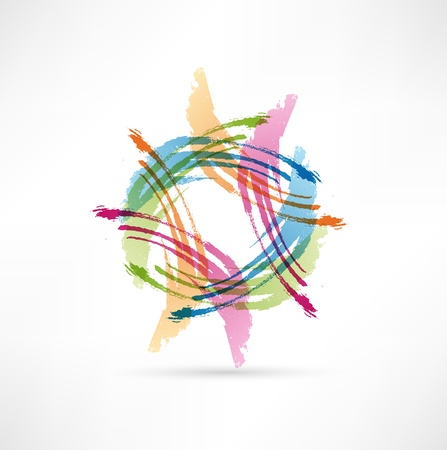 Color Brush Strokes. Abstract symbol. Vector