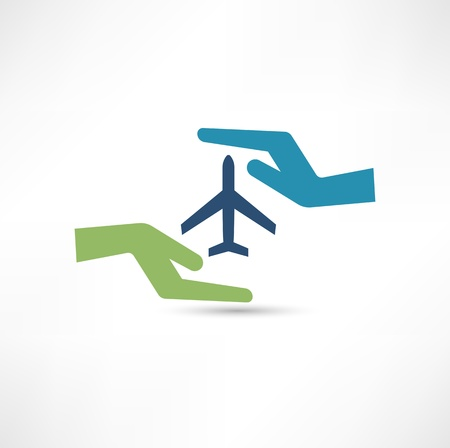Hands and aircraft. The concept of safe flight. Vector