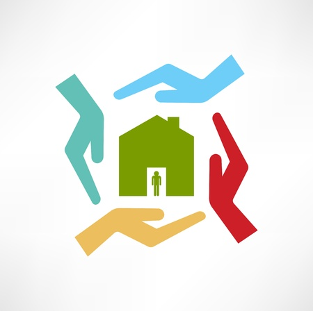 manos abiertas: El concepto de casas de seguridad Vectores