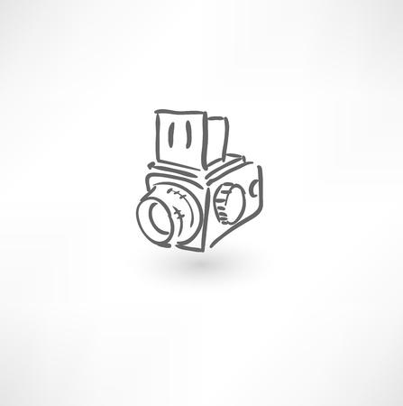 Hand drawn old camera icon Vectores