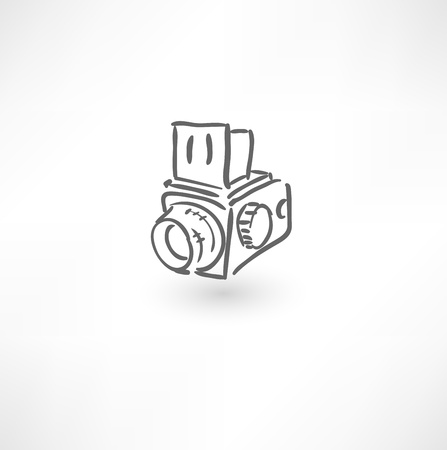 vintage camera: Hand drawn old camera icon Illustration