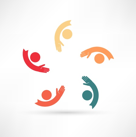 identity protection: hands connecting icon Illustration