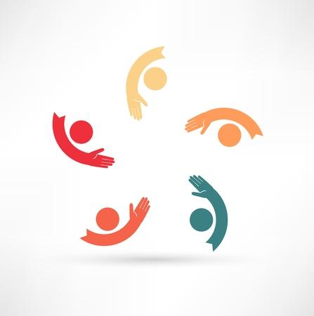 social issues: mani di collegamento icona