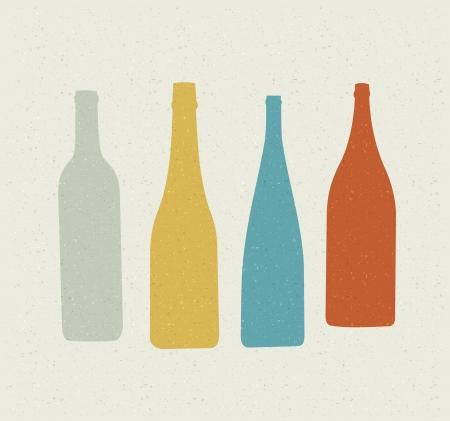 botella champagne: Botella. Cartel retro. Vectores