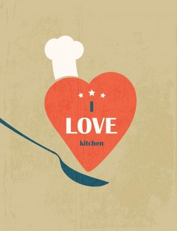 Ik hou van de keuken Retro poster