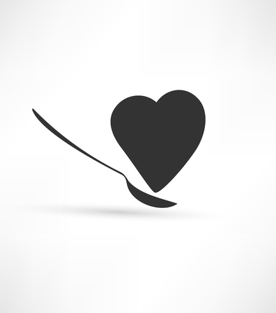 Spoon and heart icon Illustration
