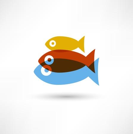 Icône de poissons Banque d'images - 15691733