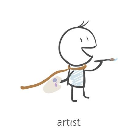 painter palette: Artist  Illustration