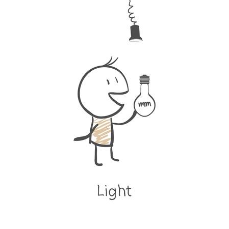 rung: Man screw the light bulb