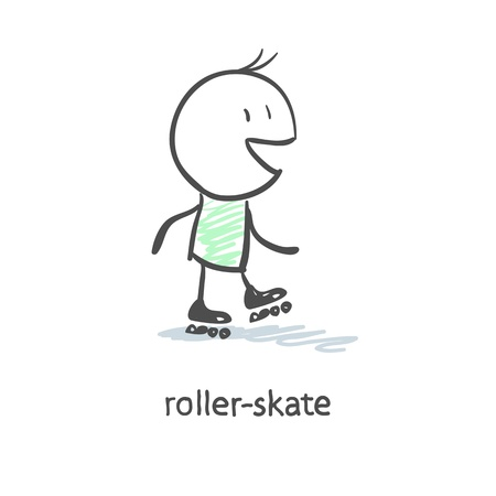roller blade: Rider on roller skates Illustration