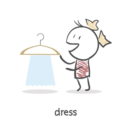 choosing clothes: Girl with clothes
