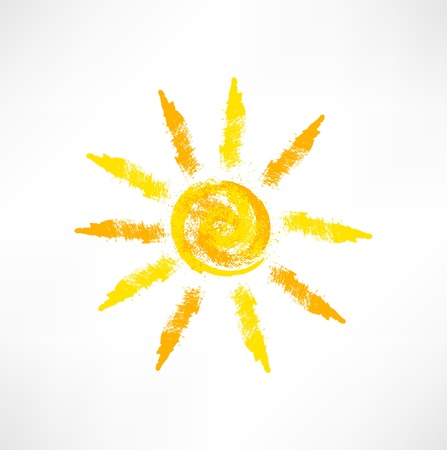 rooster and morning sun: Sun symbol Illustration
