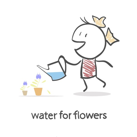 Girl Watering Flowers Stock Vector - 15795931