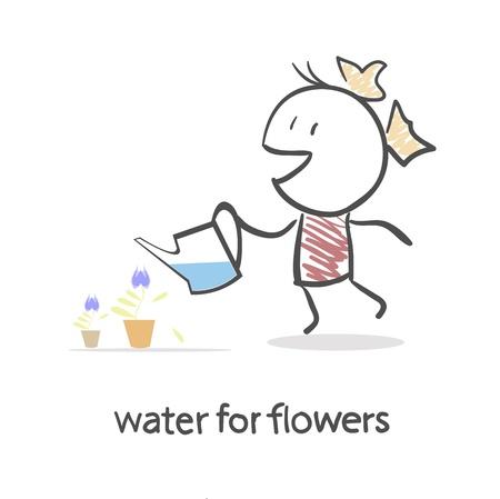 springtime: Girl Watering Flowers Illustration