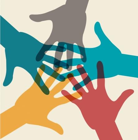 Equipo de símbolo. Manos multicolores