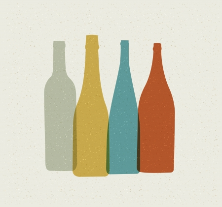 estanterias: Botella de fondo. Cartel retro.