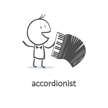 folk music: Cartoon man accordionist