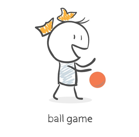 Cartoon girl playing ball Stock Vector - 15879709