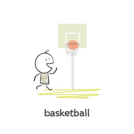 Cartoon man basketball Vector