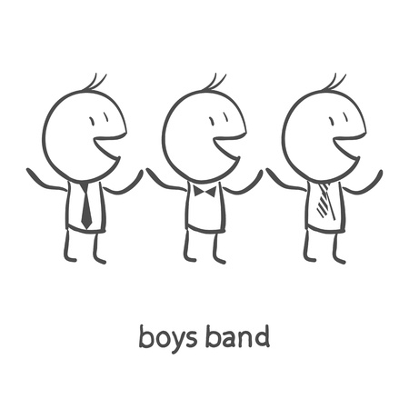 hispanic boy: Boys Band Illustration