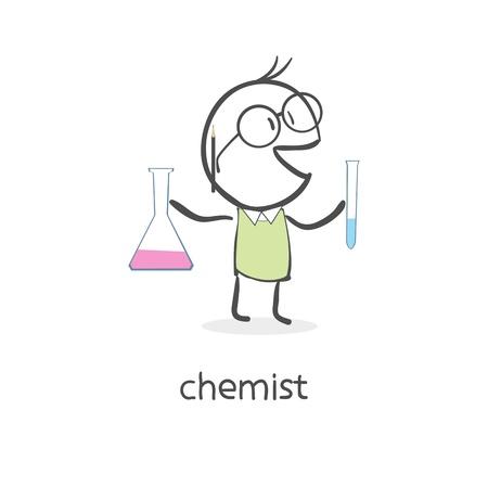 chemist: Cartoon man chemist