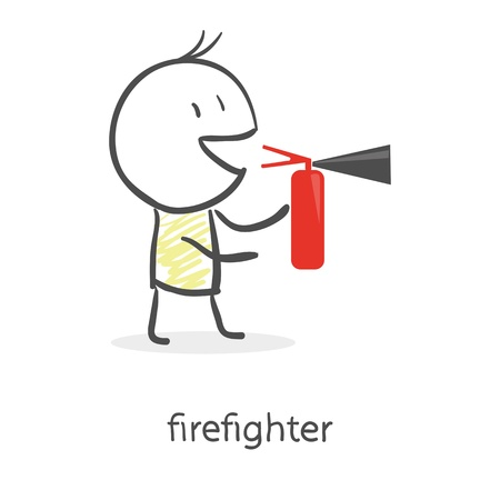 Cartoon man holding a fire extinguisher Vector