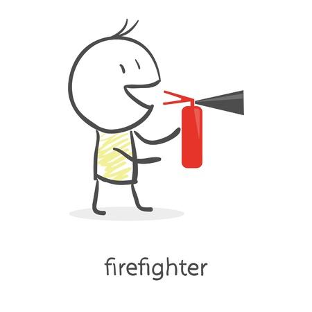 extinguish: Cartoon man holding a fire extinguisher Illustration
