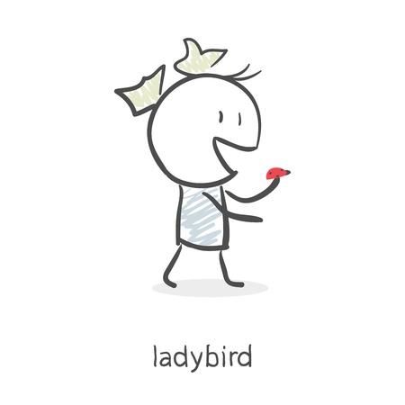 Cartoon girl and ladybird
