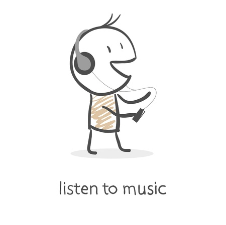 Cartoon man listening to music Vector