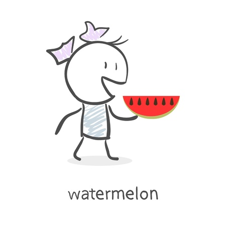 Cartoon girl and watermelon Stock Vector - 15879706