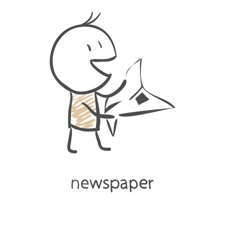 Cartoon man reading a newspaper Illustration