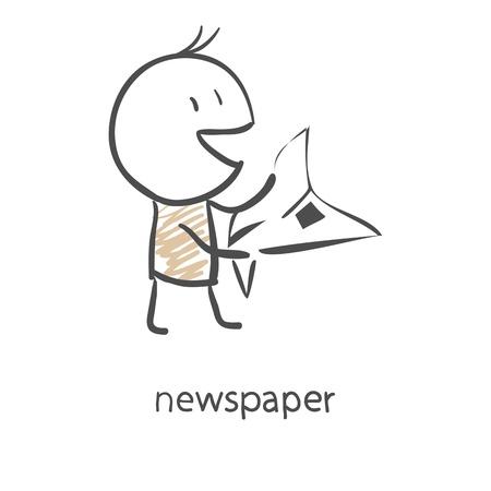 Cartoon man reading a newspaper Çizim
