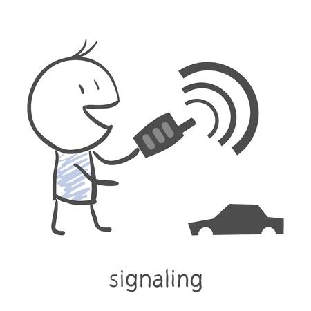remote lock: Muchacho de la historieta pone el coche en la alarma