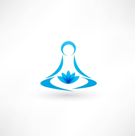 serene people: Yoga icono Vectores