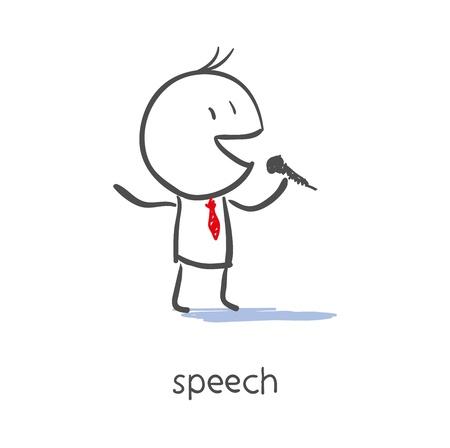 opinion poll: Businessman Talking On Microphone  Illustration
