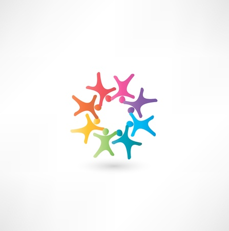 participation: Team symbol. Multicolored people Illustration
