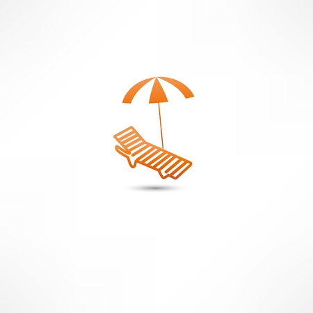 Sunbed and umbrella Icon Vector