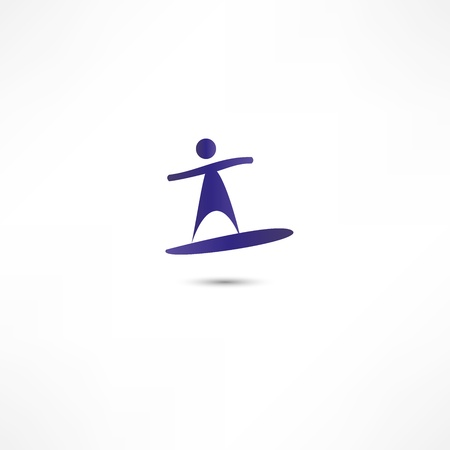 Man On Surf  Icon Vector