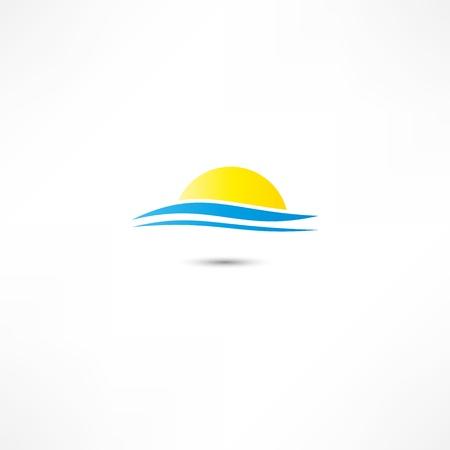 rising sun: olas del mar y del sol naciente ilustraci�n vectorial Vectores