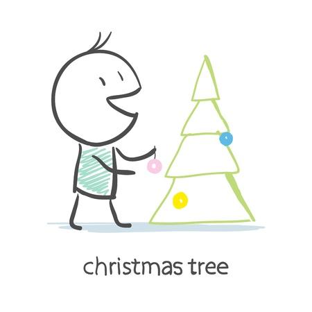 Man Dresses Up Christmas Tree Illustration